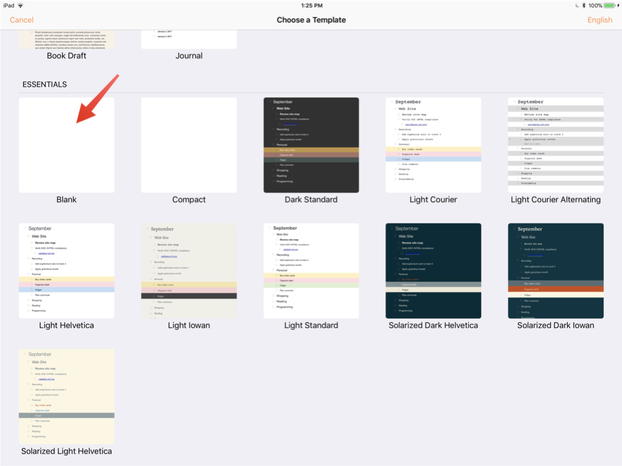 Omni automation tutorial for omnioutliner ios for Omnioutliner templates