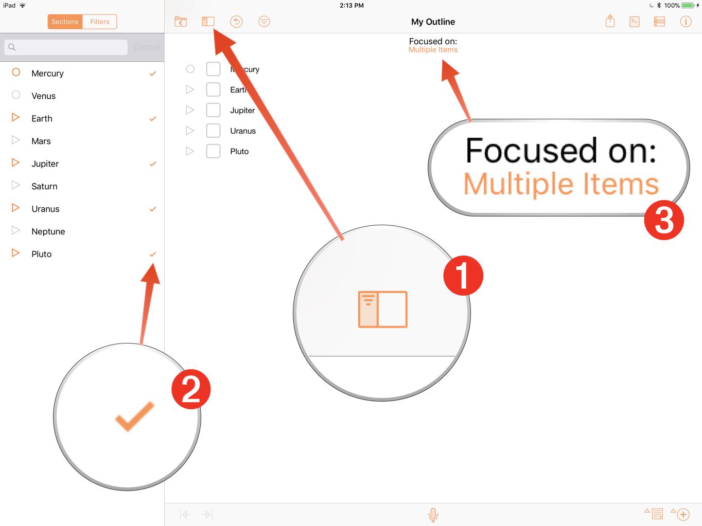 Omni Automation OmniOutliner iOS Tutorial: Focus